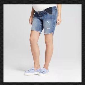 Maternity Inset Panel Bermuda Jean Shorts  #59-42